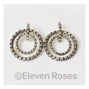 David Yurman Box Chain Mobile Circle Hoop Earrings